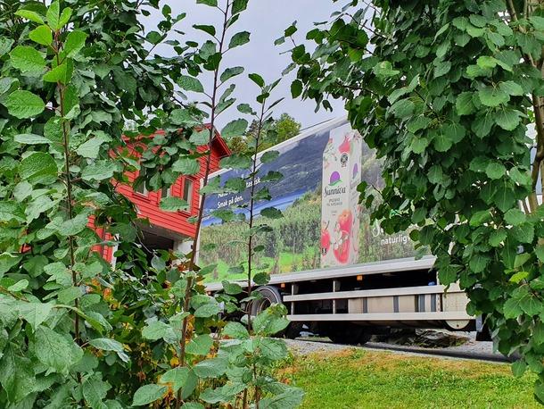 Hardanger Fjordfrukt hentar epla og annan frukt heime hos produsenten og tek det med til lageret for sortering og pakking.