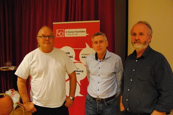 Tre karer med felles interesser og utfordringer; fv. Størk Hansen og Iver Erling Støen i LO og Trond Ellingsbø.