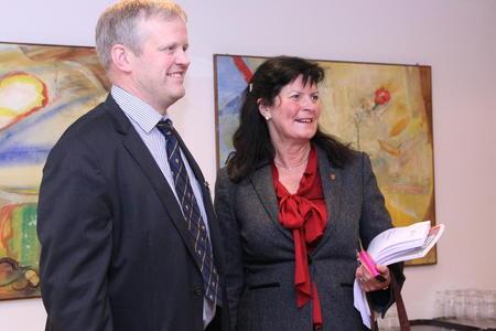 Bondelagsleder Nilt T. Bjørke og Småbrukarlagsleder Merete Furuberget.