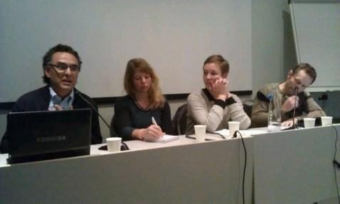 F.v. Alberto Villareal, Heidi Lundeberg, Brita Brekke og Arild Hermstad deltok i paneldebatt om kva handelsreglar som er bra for miljøet, kvinner og matsikkerheit, foto: Hildegunn Gjengedal.