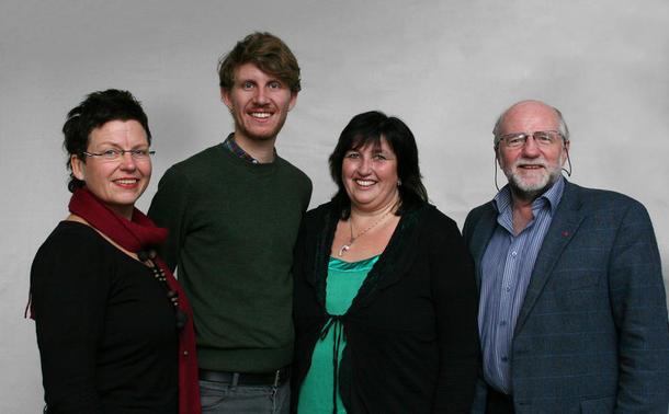 Nei til EUs arbeidsutvalg. Fra venstre: Eli Blakstad (nestleder), Jens Kihl (AU-medlem), Britt Tønne Haugan (nestleder) og Heming Olaussen (leder), foto: Nei til EU