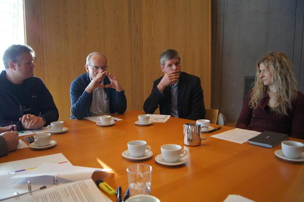 F.v Hans Edvard Torp, leder i Vestfold Bondelag, Rolf Berg, leder i Jordvernforeningen i Vestfold og Ivar Andreassen i fra Horten er noen av de som står bak Knutepunkt Horten Vest