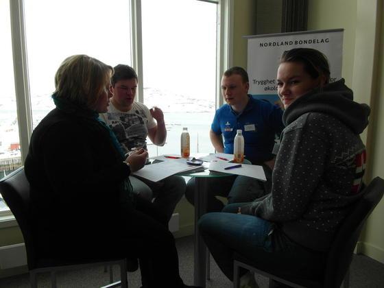 Ungdomsgruppa i Nordland Bondelag, Elisabeth Holand, Børge Andre Hegstad, Anders Mortensen og Miriam Ottesen. Siste medlem i gruppa Lars Thomas Kapelrud var ikke til stedet.
