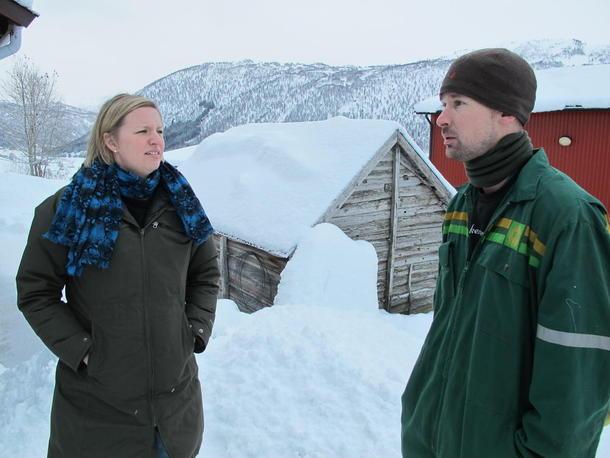 Her er Jostein i samtale med kommunikasjonssjef i Norges Bondelag Ragna Krohnstad tidlegare i vinter.