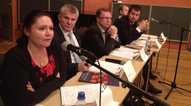 Eva Kristin Hansen (Ap), Bjørn Lødemel (H), Oskar Grimstad (FrP), Geir Pollestad (Sp) og Heikki Holmås (SV)