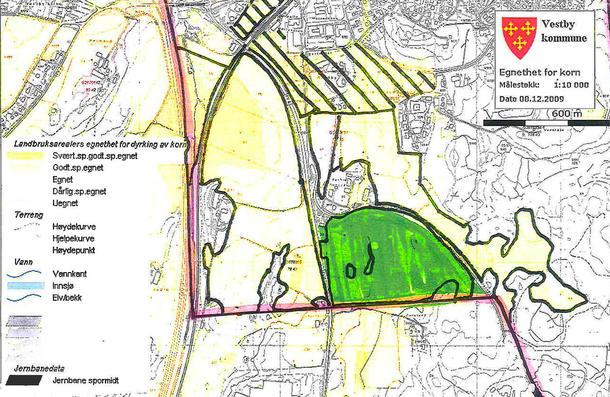 Delijordet inneholder noe av den beste dyrkbare marka i kommunen. Illustrasjon: Vestby kommune, landbruksavdelingen