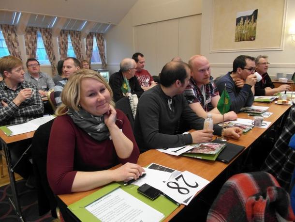 Hyggelig at det kommer nye ansikter på ledermøte, her er utsending fra Skjerstad Bondelag, Anne Merethe Toftebakk