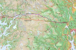 Norges Bondelag ble utfordret til å lage en trasé mellom Oslo og Bergen. Resultatet ble slik: