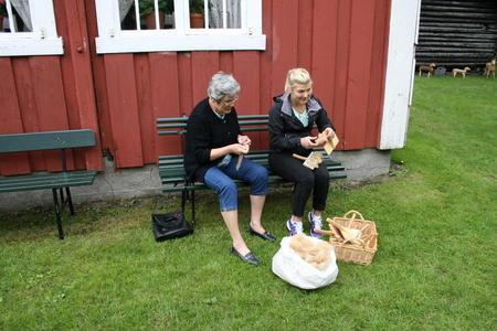 Karding, til høyre Viktoria Sahlin guide på muset, den andre ukjent.