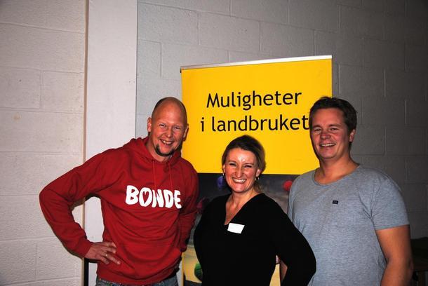 Tre gode representanter for bondeyrket som ser muligheter i landbruket; Egil Romsås, Monica S. Klette og Lars H. Foss