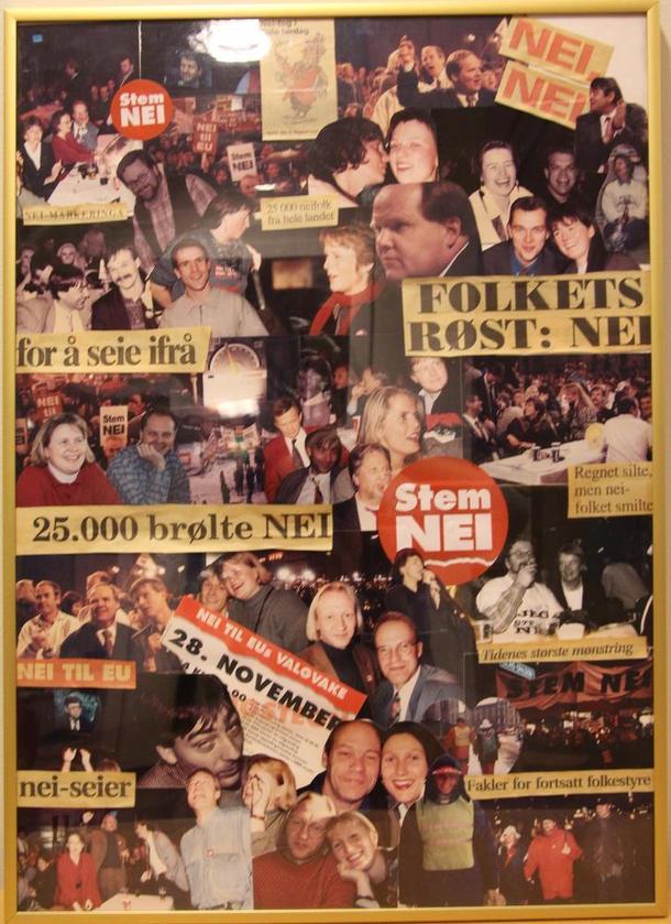 Denne collagen med stemingsbilder av folk fra Bondelaget og andre organisasjoner som var sterkt engasjert i Nei-kampen i 1994, henger fortsatt i Landbrukets Hus.
