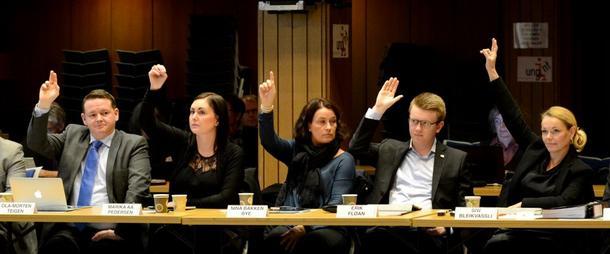 Frp og Høyre stemte for å fjerne konsesjonsloven. Fra venstre: Ola Morten Teigen, Marika Aakervik Pedersen, Nina Bakken Bye, Erik Fløan og Siw Bleikvassli. (Foto: Bjørn Tore Hals, NTFK)