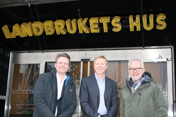 Anders Vedal, Per Skorge og Gunnar Bøyum skal utvikle Landbrukskvartalet i Oslo. Foto: Guro Bjørnstad.