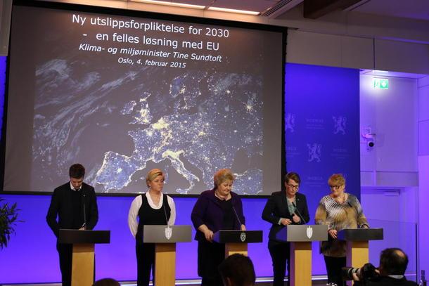 Fra regjeringa og samarbeidspartienes presentasjon av klimamålene. Foto: Statsministerens kontor