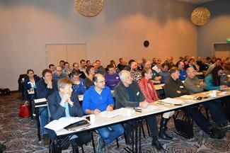 Foran til venstre generalsekretær i Norges Bondelag, Per Skorge, som gjestet årsmøtet.