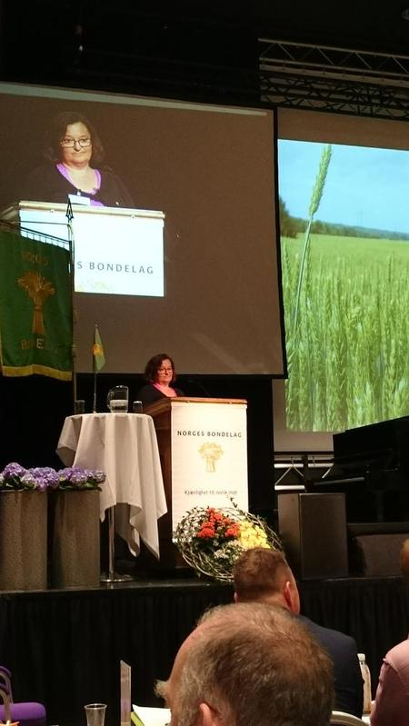 Styremedlem  i Nordland Bondelag Tove Mosti Berg holder innlegg der hun tar opp temaet Landbruksskolene.