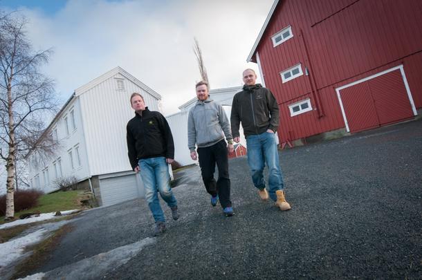 SAMMEN STÅR DE STERKERE: De tre ytterøybøndene Hans Morten Forberg (f.v.), Lars Henrik Laugsand og Thomas Skaare Laugsand ser frem til å møtes jevnlig. Målet er å få en mer effektiv drift.