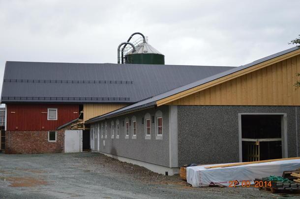 Illustrasjonsbilde: Nytt fjøs under bygging på Øya vgs i Sør-Trøndelag