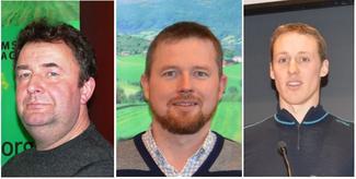 Odd Helge Gangstad (t.v.) er ny ordfører i Midsund og går ut av fylkesstyret i Bondelaget. Oddvar Mikkelsen (i midten) rykker opp som fast styremedlem, og Vegard Smenes (t.h.) blir fast møtende vara i styret.