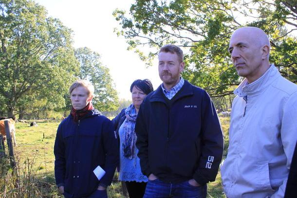 Birte Usland sammen med Gaute Eiterjord, Bjørn Gimming og Carl Erik Semb på studietur i Sverige for å lære mer om klimarådgivning.