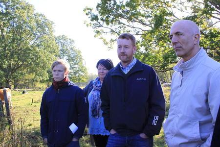 Vil gi klimaråd til norske bønder. Her er Gaute Eiterjord fra Natur og Ungdom, Birte Usland og Bjørn Gimming fra Bondelaget sammen med Carl Erik Semb fra Landbruksdirektoratet.