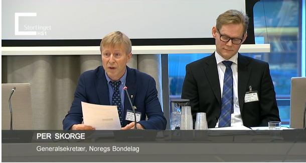 Generalsekretær Per Skorge og advokat Erlend Stabell Daling på dagens høyring i Næringskomiteen. Skjermdump fra stortinget.no