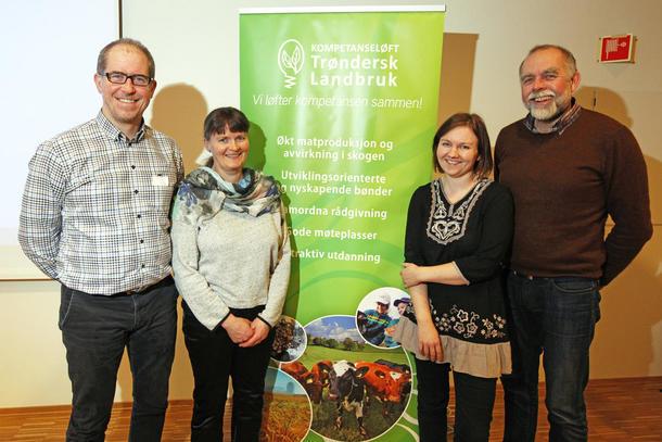 Prosjektledelsen høstet heder og ære under konferansen. Fra venstre: Pål-Krister V. Langlid, Sissel Langørgen, Anne Grete Rostad og styringsgruppeleder Lars Morten Rosmo.
