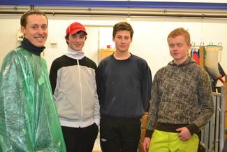 Ungdommene Vegard Smenes (t.v.), Birger Ingeborgvik, Marius Kongshaug og Håvard Folland, alle fra Averøy, har alle et sterkt engasjement for landbruket.
