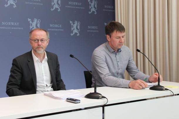 Statens forhandlingsleiar Leif Forsell og jordbrukets forhandlingsleiar Lars Petter Bartnes.