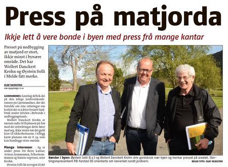 På biletet frå venstre: Øystein Solli, Pål Farstad og Wollert Dankert Krohn. Les heile saka i ROMSDALS BUDSTIKKE - klikk på biletet
