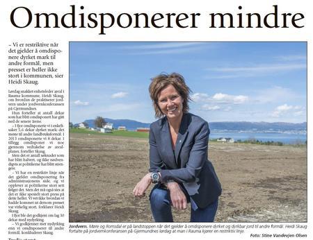 Les heile intervjuet i ÅNDALSNES AVIS med utbyggingssjef i Rauma kommune, Heidi Skaug - klikk på biletet