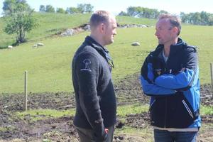 Jon Georg Dale og Anders Felde diskuterar landbruk.
