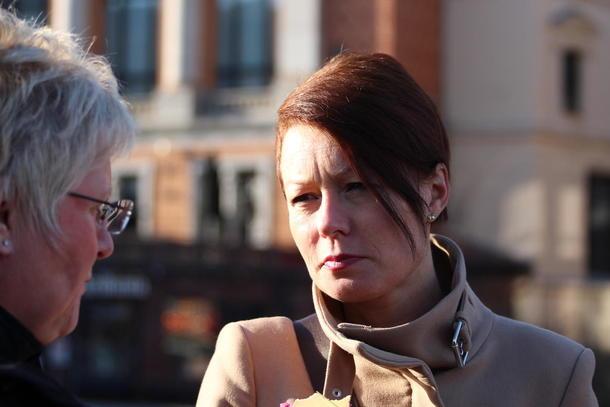 Line Henriette Hjemdal (KrF), her i samtale med 2. nestleiar i Norges Bondelag, Brita Skallerud, ved eit tidlegare høve.