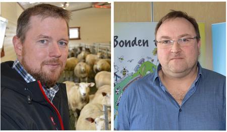 Fylkesleiar Oddvar Mikkelsen (t.v.) og styremedlem Odd Bjarne Bjørdal i Møre og Romsdal Bondelag.