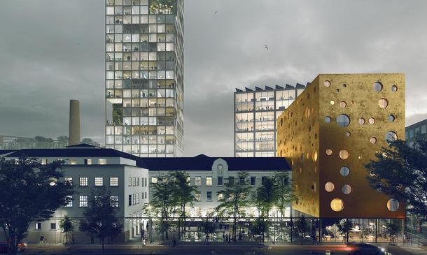 Det nye landbrukskvartalet sett fra vestsiden. Deler av den gamle meieribygningen i forgrunnen. Høybygget i midten er prosjektert til å bli omtrent like høyt som Oslo Plaza - hundre meter høyt. Det skal blant annet romme kontorer og boliger.