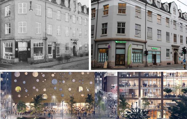 """Bildene øverst viser hjørnet mellom Platous Gate og Schweigaards Gate. Da denne bygningen ble tatt i bruk for første gang i 1913 huset det melkeutsalg til Oslos innbyggere og melkeforsyningens administrasjon. I 2016 er det meglere fra Krogsveen som selger boliger på hjørnet her. I framtiden skal denne bygningen omdannes til et """"ostehotell""""."""