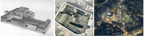 Landbrukskvartal i utvikling. Til venstre er en tegning av melkeforsyningens meierianlegg etter utvidelsen i 1935. Bildet i midten viser dagens landbrukskvartal, beliggende mellom Bjørvika, Gamlebyen, Grønland og Oslo S.  Til høyre kan du se hvordan framtidens landbrukskvartal kan komme til å se ut.