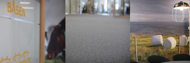 Norsk fokus: Alle møterommene har landbruksrelaterte med tilhørende dekor på vegg,  norsk ull er hovedingrediensen i teppene på gulvet, mye av interiøret har inspirasjon fra det norske landbruket.
