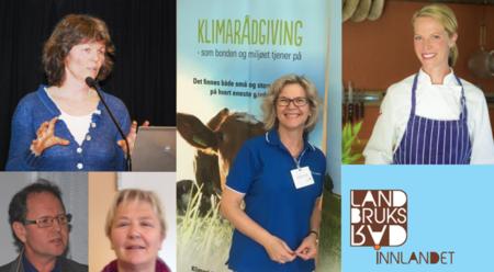 Foredragsholdere på felleskurs på Landbrukshelga 2017: Kjersti Hoff, Thomas Cottis, Ingeborg Grimsrud, Anne Kristine Rossebø og Charlotte Mohn Gaustad