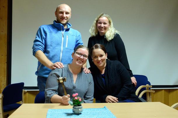 LITT AV STYRET: Stefan Skulstad, Anette Liseter og Marit Kolstad de eneste fra styret til stede, her sammen med nestleder i Nord-Trøndelag bondelag Borgny Kjølstad Grande.