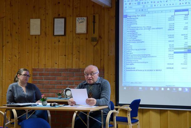LEDET: Oddbjørn Solum ledet årsmøtet med sikker hand sammen med leder Anette Liseter.