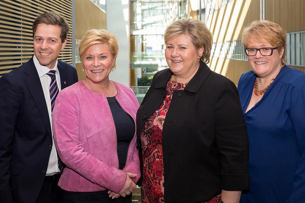 Knut Arild Hareide (KrF), Siv Jensen (FrP), Erna Solberg (Høyre og Trine Skei Grande (Venstre)ble i går enige om statsbudsjett for 2017. Illustrasjonsbilde. Foto: Hans Kristian Thorbjørnsen/Høyre CC-lisens flickr.com