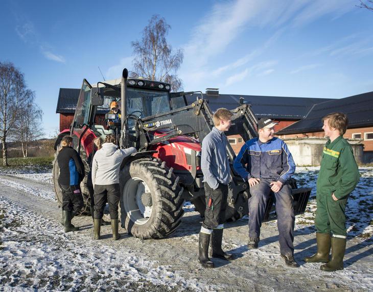 Gruppe ungdommer står og snakker om landbruk foran rød traktor