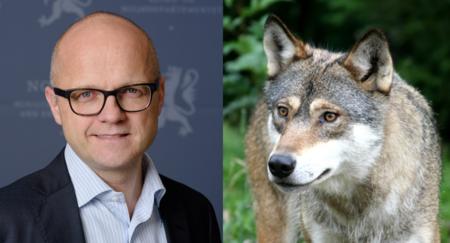 Klima- og miljøminister Vidar Helgesen, protestaksjon etter regjeringens stans av ulvejakt