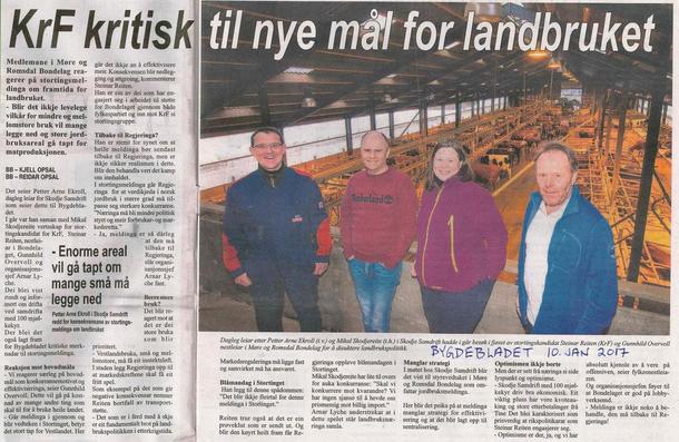 Bygdebladet 10. januar - klikk på biletet for å lese saka i PDF