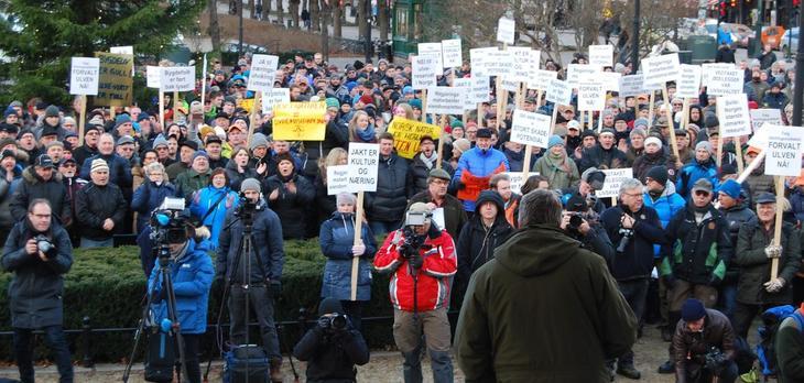 Bilde fra ulvedemonstrasjonen 4.1.2017