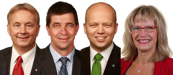 Knut Storberget, Gunnar A Gundersen, Trygve Slagsvold Vedum og Karin Andersen