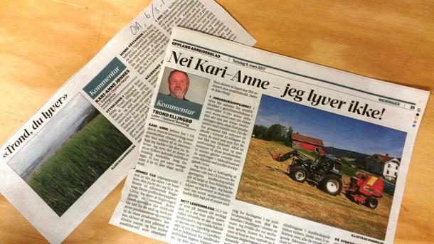 Avisklypp fra Oppland Arbeiderblad.