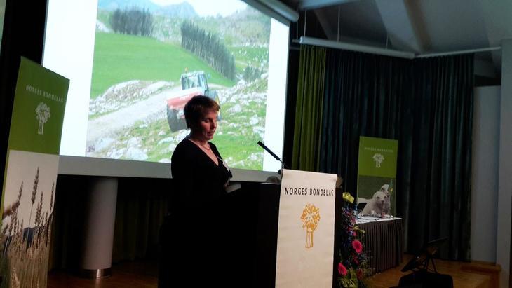 Marit Epletveit, leiar i Rogaland bondelag, held innlegg under representantskapsmøtet veke 13 i Oslo.