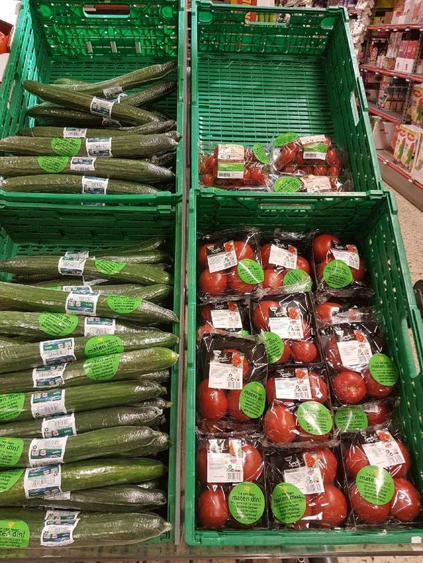 Klistremerker på grønnsaker
